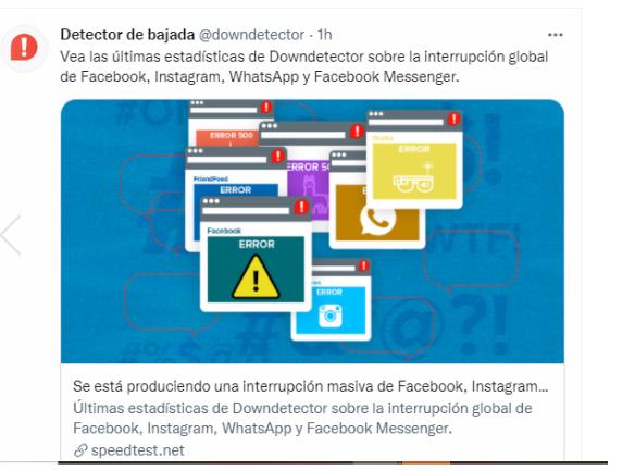 Reportan caída mundial de plataformas de Facebook, Instagram y WhatsApp